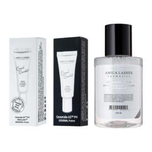 Набор Amica Lashes Ceramide Concentrate A2 и Home Series + Aqua Makeup Remover. купить с доставкой церамидная вода и концентрат в тубусе с доставкой