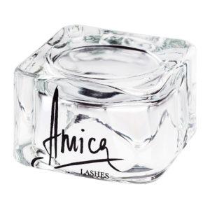 Стеклянный стаканчик от Amica Lashes Cosmetics для смешения пигмента и хны. Купить с доставкой.
