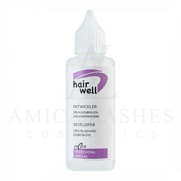 Оксид для краски HairWell для работы с хрупкой структурой ресничек и бровей. Имеет безопасный состав и приятный аромат.